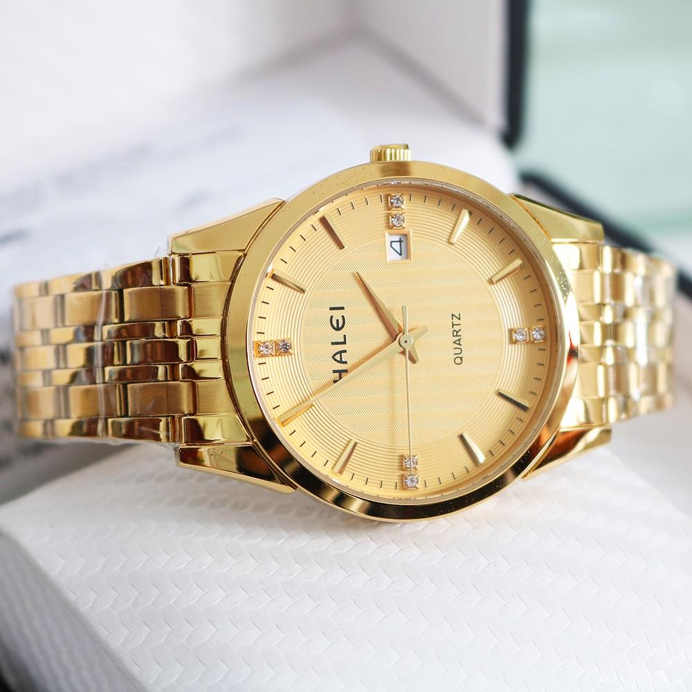 Đồng hồ nam HALEI H1199 Đẳng cấp doanh nhân mặt tròn lịch ngày dây thép cao cấp sang trọng