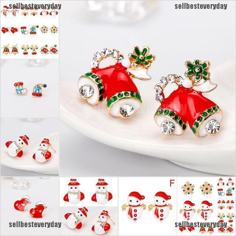 3 Pairs Fashion Christmas Crystal Enamel Earrings Set Women Ear Stud Jewelry jelly