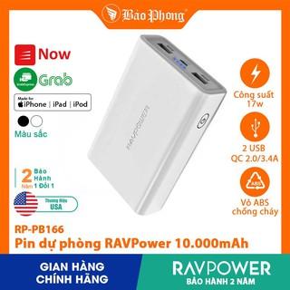 Pin Dự Phòng RAVPower RP-PB166 10000mAh QC  2.0, Output 3.4A cho iPhone iPad IP 6 7 8 Plus 10 11 12 Pro max x xs giá rẻ