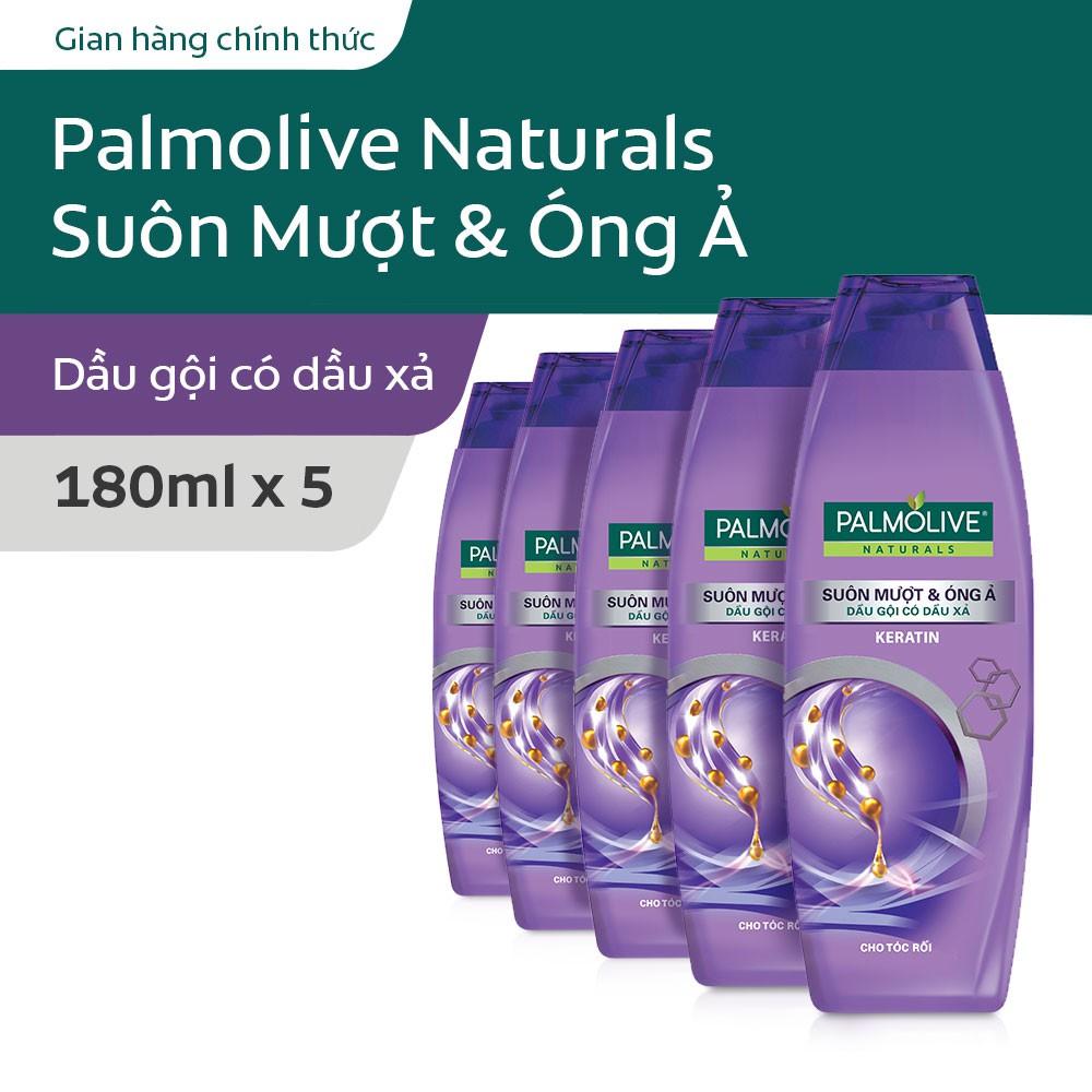 Bộ 5 Dầu gội kèm dầu xả Palmolive Suôn mượt & Óng ả Keratin cho tóc rối 180ml/chai