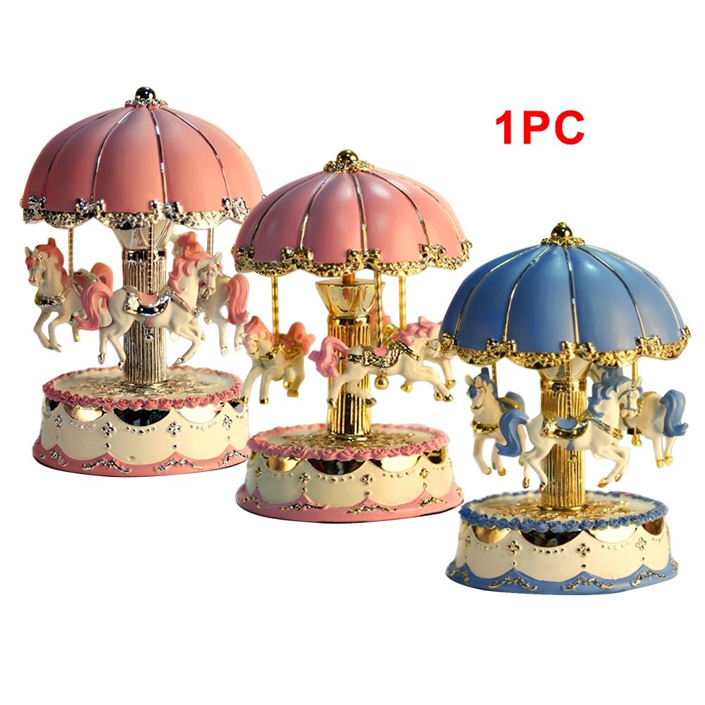 Mechanism Carousel Clockwork Birthday DIY LED Light Exquisite Desktop Gifts Valentine's Day Craft Horse Music Box