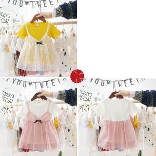 Đầm tay ngắn phối vải lưới bồng bềnh kiểu dáng xinh xắn dễ thương thời trang cho bé gái 1-3 tuổi