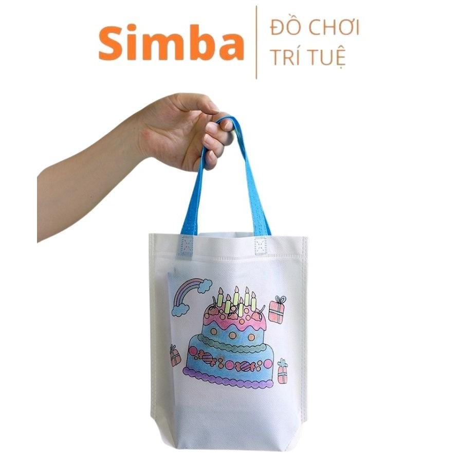 Túi xách tô màu vẽ bằng vải dệt cho bé đồ chơi Simbaba cho trẻ em 3-5 tuổi tập tô màu sáng tạo