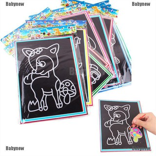 Babynew 10pcs 9*12CM Small Size Kids Scraping Painting Educational Toys For Children