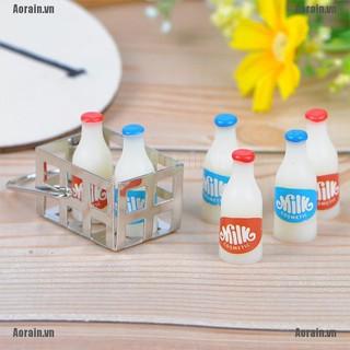 MT 1:12 Dollhouse miniature metal milk basket with 6pcs bottles set for dolls house NY