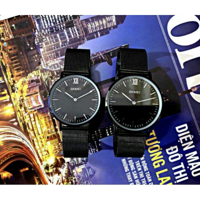 (ảnh thật) Đồng hồ cặp đôi Skmei dây lưới (tặng thêm pin + hộp) DHK131