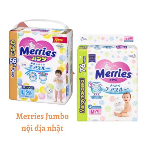 TÃ DÁN / QUẦN MERRIES JUMBO NỘI ĐIẠ S86/M64/L54/NB90/M58/L44/XL38/XXL26 (Cộng miếng