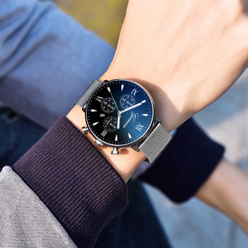 นาฬิกาผู้ชายสแตนเลสสุดหรูแบบ Dial