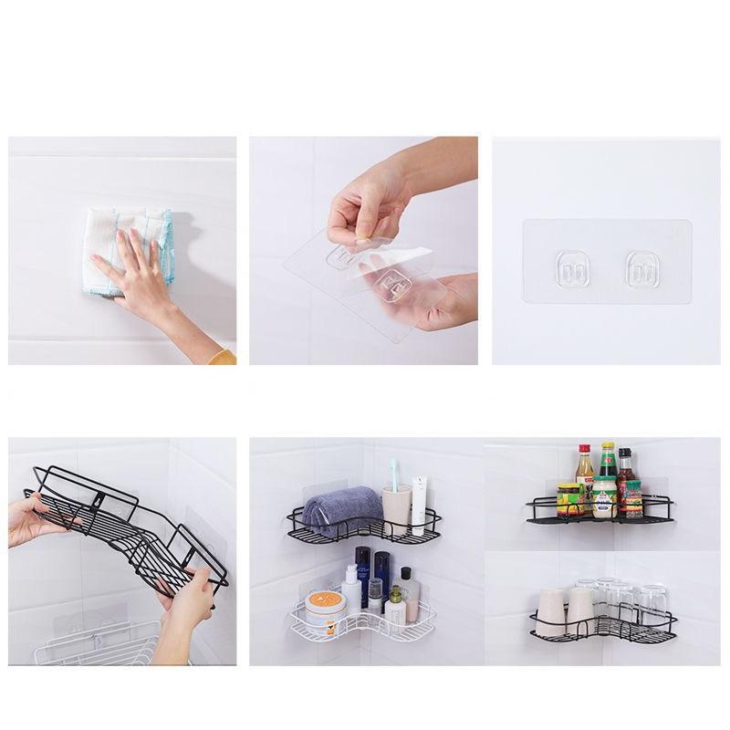 Kệ góc dán tường siêu dính siêu chắc trong nhà vệ sinh, nhà bếp siêu tiện lợi