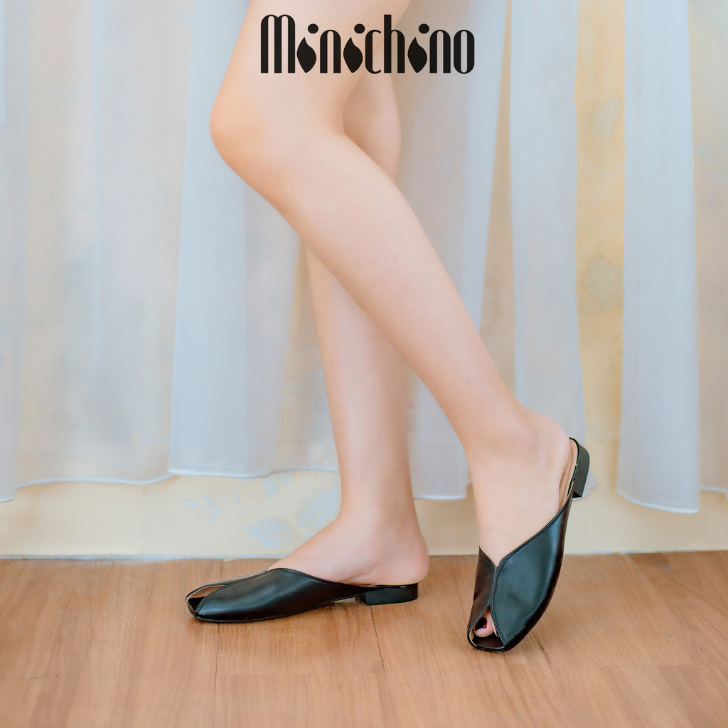 Giày sục nữ MINICHINO dép nữ hình quả trám hở mũi thời trang màu đen TC035