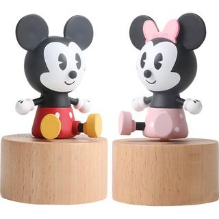 hộp nhạc bằng gỗ hình chuột mickey/minnie