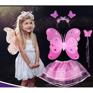 Ma TOYTUUTRUONG giam 15% Cánh tiên kèm váy cho bé ( cánh bướm 2 tang 6 canh có đèn ) giá rất rẻ