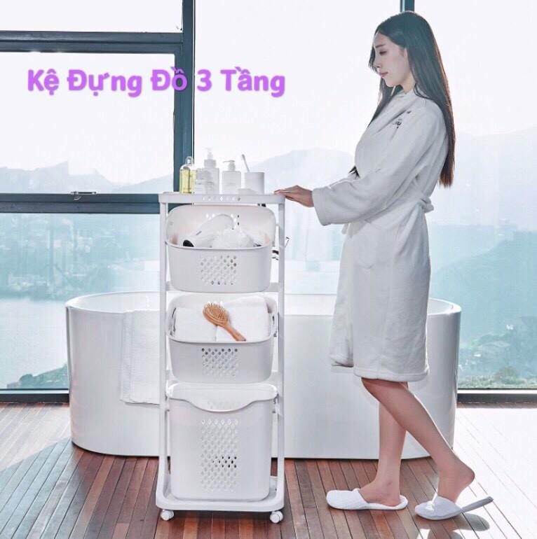 Chính hãng] kệ nhựa đựng đồ 3 tầng đa năng cao cấp có bánh xe hàng nhựa Việt  Nhật siêu tiện lợi cho mọi không gia sống tại Hà Nội