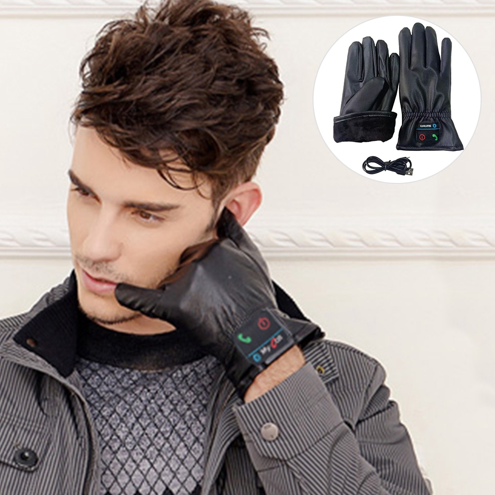Portable Bluetooth Gloves Rechargeable Hands Free Calling Mobile PU Leather