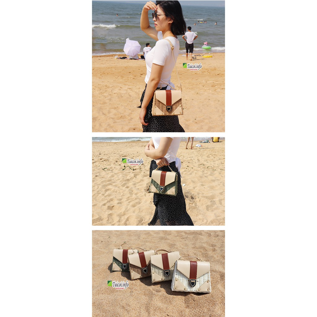 Túi cói hộp hình thang cỡ lớn đeo chéo