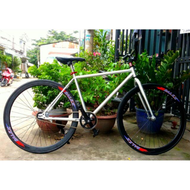 Xe đạp fixed gear single bạc ( Bảo hành 1 năm)
