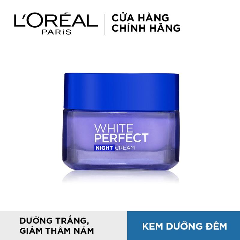 Kem dưỡng trắng da vitamin L'oreal Paris White Perfect ban đêm 50ml (Kem Ā
