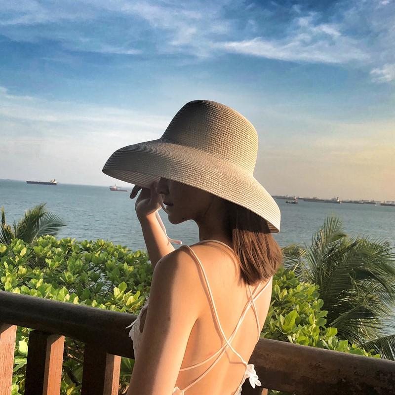 🔥[HCM Sẵn] Nón cói đi biển lồng đèn vành cụp nón cói chuông không nơ sang chảnh (Trắng, Hồng, Nâu, Đen)