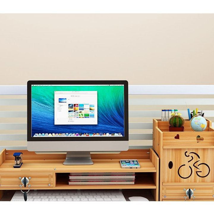 Giá kệ laptop máy tính và để tài liệu để bàn làm việc ngăn kéo có khóa chắc chắn kệ để tài liệu lắp ghép bằng gỗ