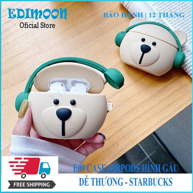 [XẢ KHO 3 NGÀY] Case Airpods Pro/1/2 Bảo Vệ Tai Nghe Bluetooth Không Dây Hình Gấu Starbucks E09 Edimoon|HÀNG ĐẸP| Vỏ Ốp