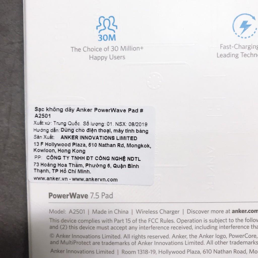 Đế sạc nhanh không dây ANKER A2501 PowerWave Fast Wireless Pad - Sạc nhanh cho IPhone IPad Android