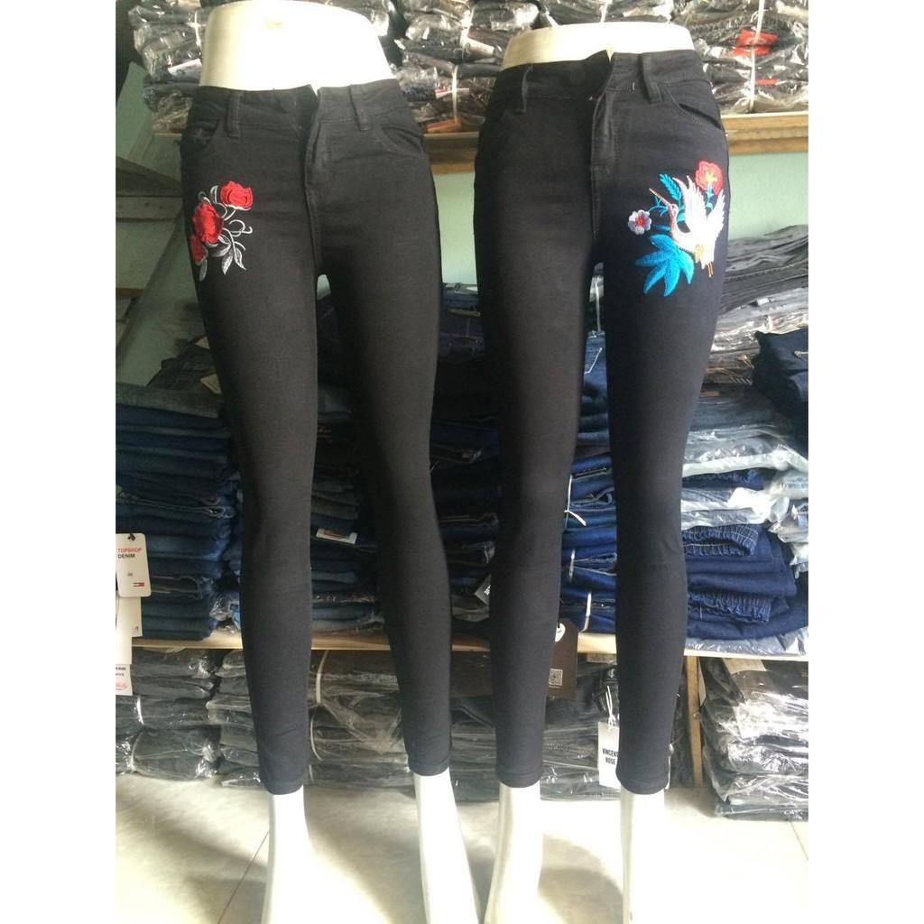 quần jean đen thêu hoa