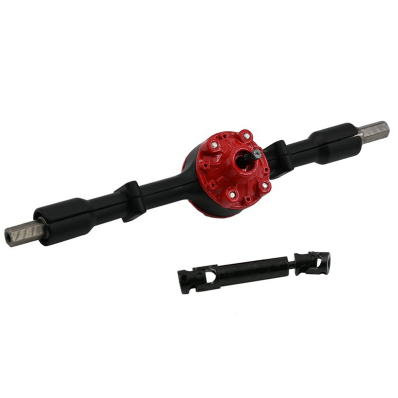 for WPL D12 Rear Metal Shaft Shell Differential Gear with Driving Shaft DIY Upgrade Accessories RC Car Toy el,Black