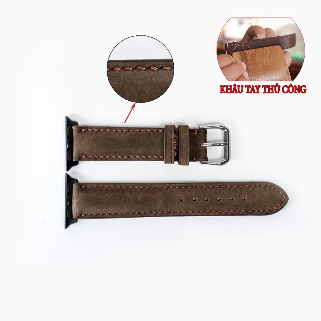 Dây đồng hồ Apple watch D116 Bụi Leather da bò Vintage khâu tay thủ công