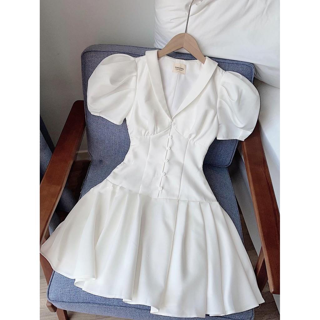 Mặc gì đẹp: Sang chảnh với Đầm dự tiệc, dạo phố tay bồng cổ vest phối nút dáng xòe nhẹ sang chãnh