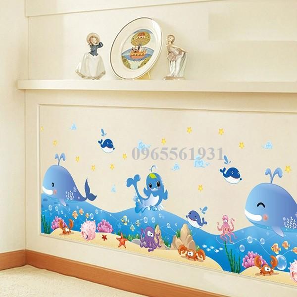 Decal dán tường chân tường cá voi