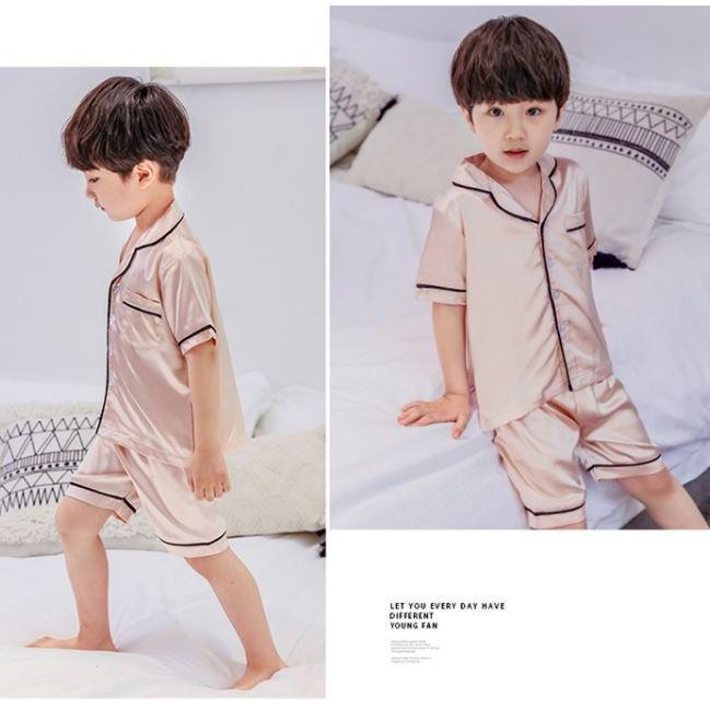 Mặc gì đẹp: Gọn tiện với Đồ Ngủ Pijama Lụa Trẻ Em MinChu Cho Bé Trai Bé Gái Mặc Ở Nhà Từ 12 - 34kg - Quần Áo Ngủ Mùa Hè Cho Bé