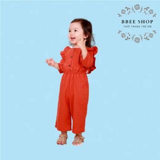 [Mã DAHUMR25X hoàn 25% xu đơn 299K] Bộ jumpsuit bé gái màu cam bèo vai hàng thiết kế cao cấp M42