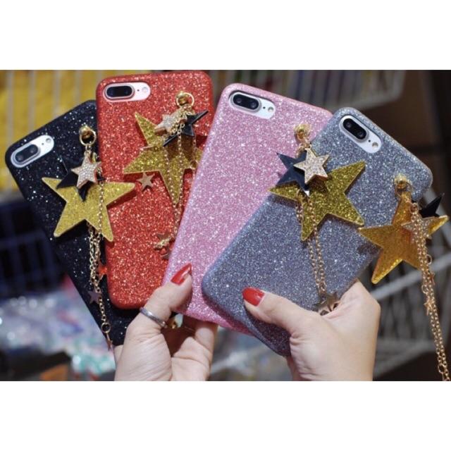 [SALE 10%] Ốp lưng Kim tuyến ngôi sao mặt dây chuyền IPhone 5,6,6P,7,7P