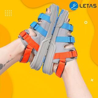 Hàng có sẵn- Full Box- sandal 3 quai cá tính D1001/Cam Xanh/ kèm Ảnh Gốc