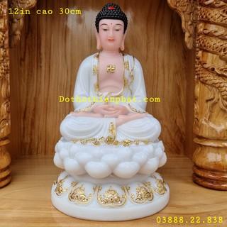 Tượng Phật Thích Ca đá màu trắng 12in cao 30cm mẫu mới