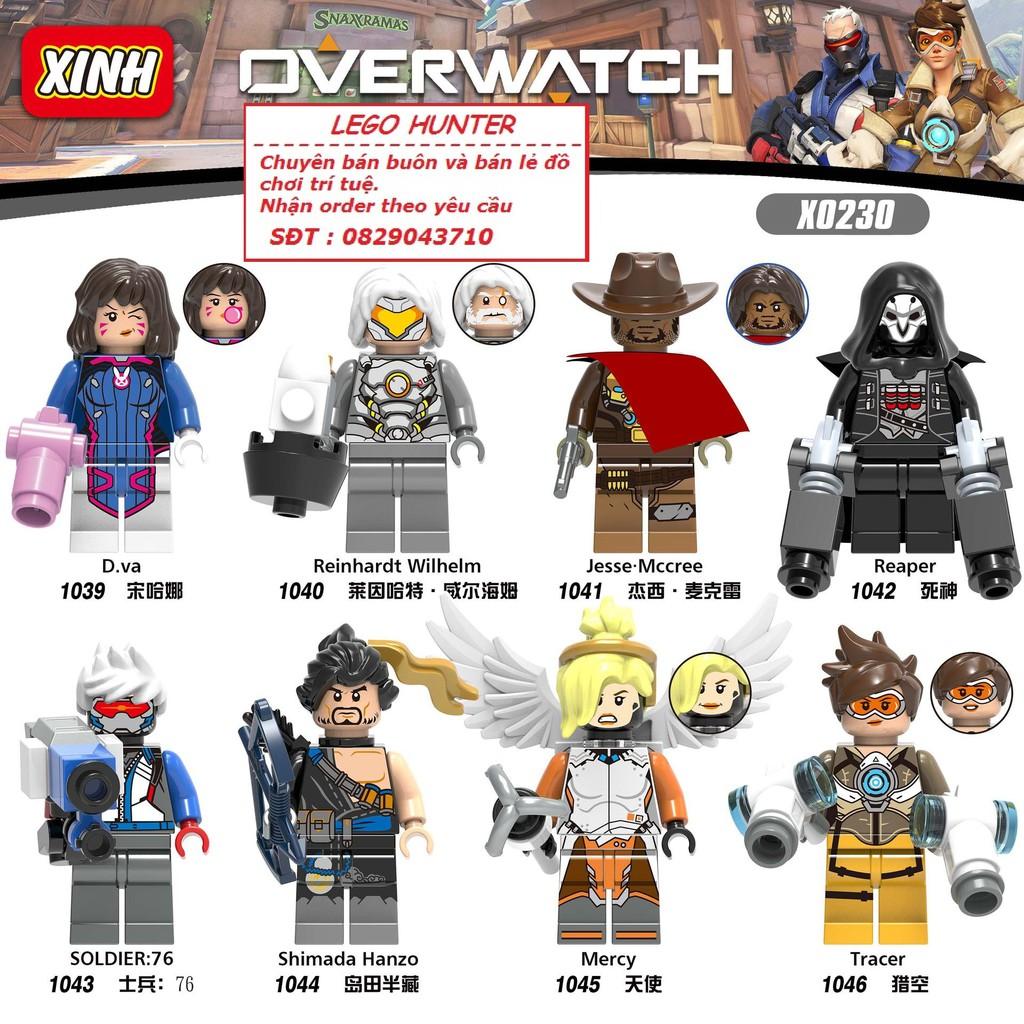 Lego Minifigures OverWatch nhân vật D.va Reinhardt Wilhelm Jesse Mccree Reaper Soldier :76 Simada Hanzo Mercy Tracer