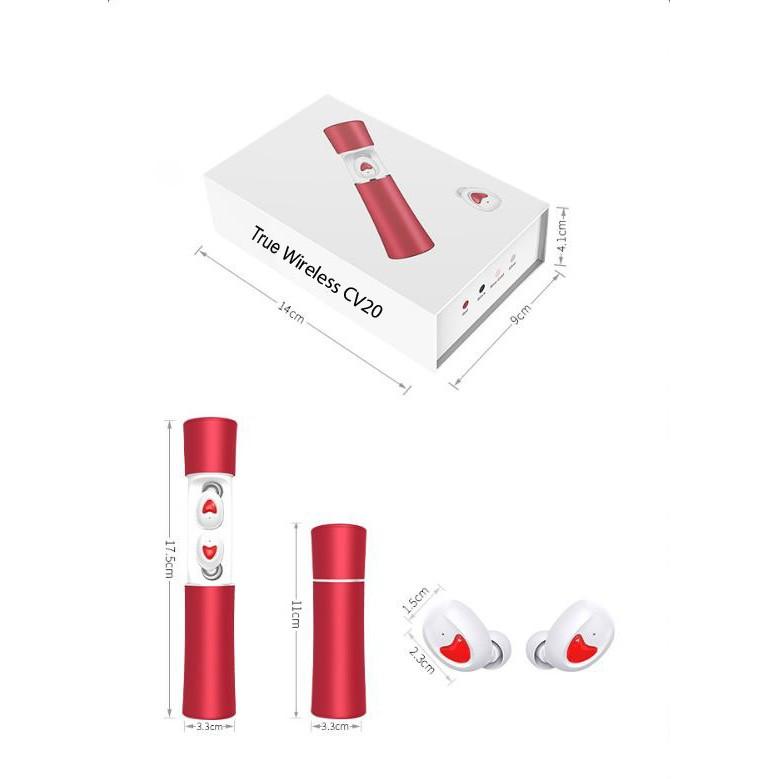 Tai nghe bluetooth true wireless CV20 - thiết kế sáng tạo 2020, bluetooth 5.0, 3D bass, HD mic, sử dụng 15h