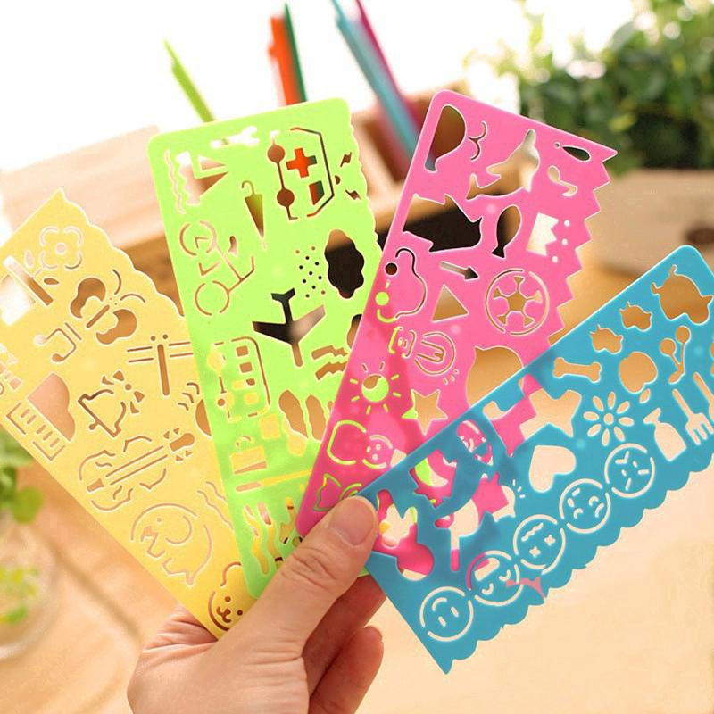 4pcs Lovely Plastic Various Patterns Washable Drawing Painting Stencils Scale Template Ruler Sets For Kid Craft