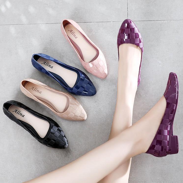 Giày nhựa đi mưa nữ Alina 3p dáng công sở V251