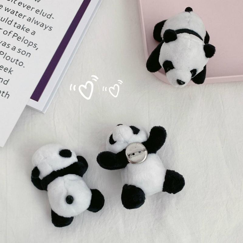 Japanese cute three-dimensional baby panda Brooch schoolbag decoration Plush prone panda clothing luggage accessories