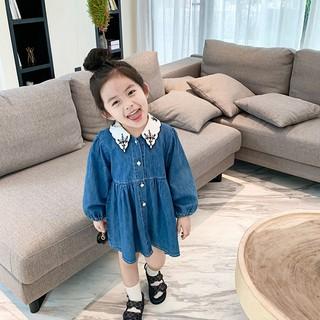 Đầm denim tay dài cổ thêu thời trang mùa thu Hàn Quốc 2021 cho bé gái