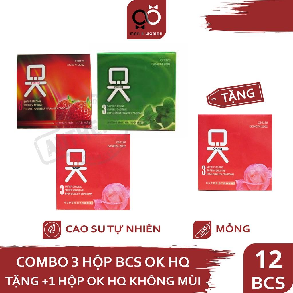 Bộ 4 hộp Bao cao su Ok HQ Hương Dâu Tây - Bạc Hà - Không Mùi 12 cái CB017