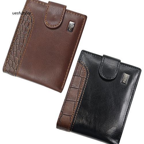 ღues_Men Bifold Faux Leather ID Card Holder Money Clutch Billfold Coin Wallet Purse