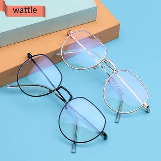 WATTLE Women Men Metal Glasses Vintage Eye Protection Anti-Blue Light Eyeglasses Portable Fashion Computer Polygon Ultra Light Frame/Multicolor
