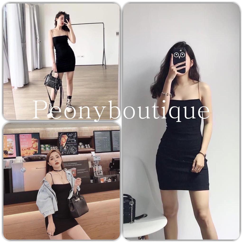 Đầm Body Nữ 🌸 Váy 2 dây mảnh đen trơn dáng ngắn SIÊU HOT 🌸