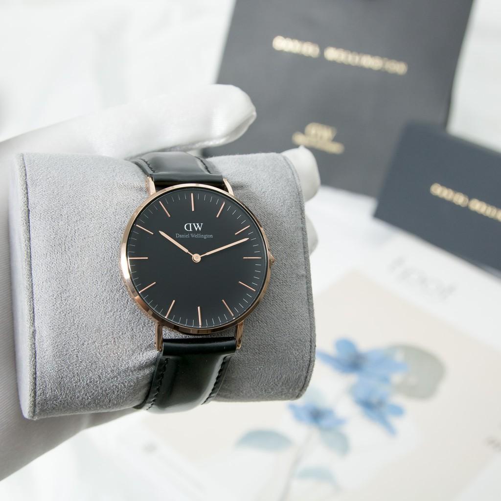Đồng hồ nam/nữ dây da Daniel Wellington Classic Black Sheffield - Vàng Hồng