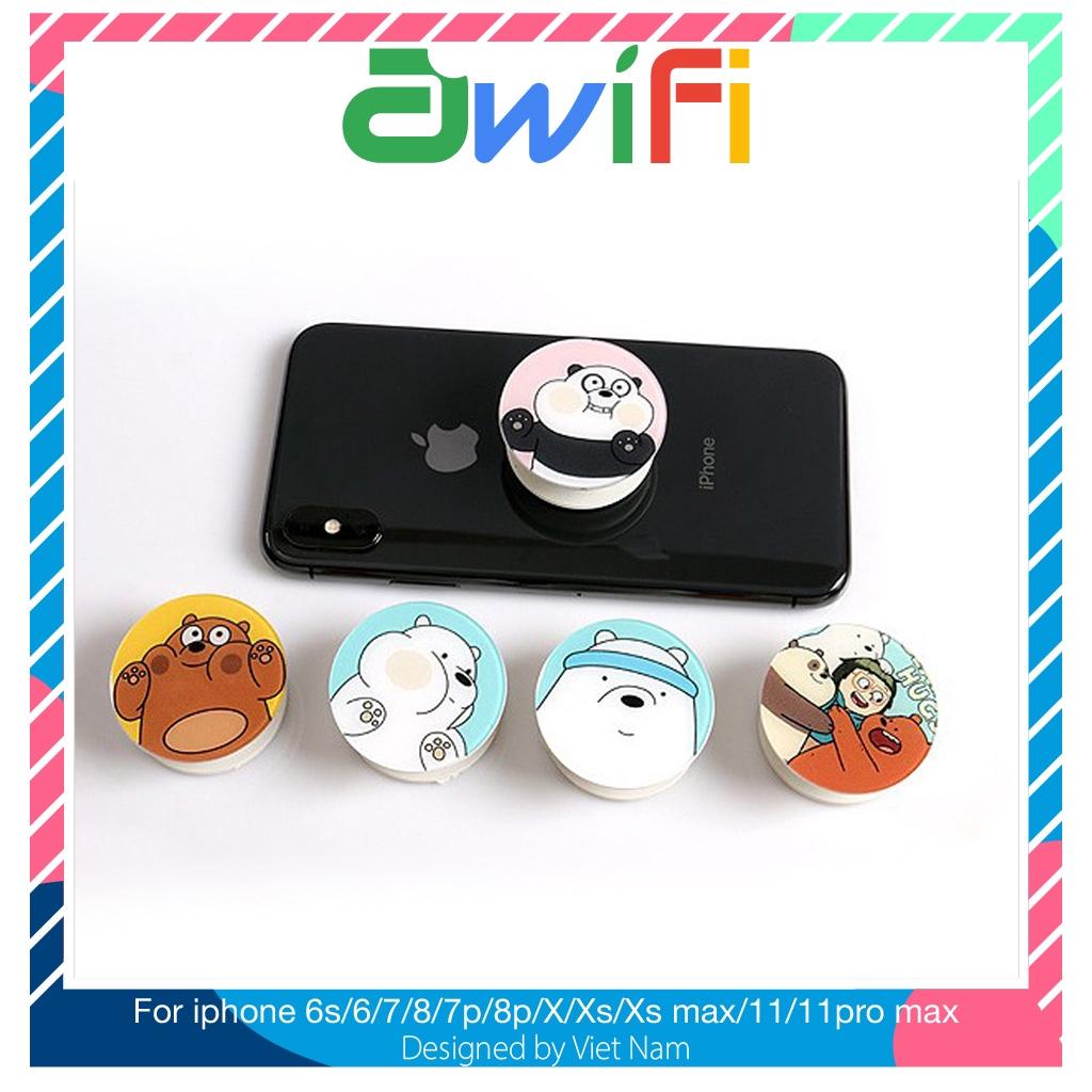 Giá đỡ điện thoại Gia đình gấu ( in phủ bóng ) ( 5 mẫu ) - Awifi Case L2-8