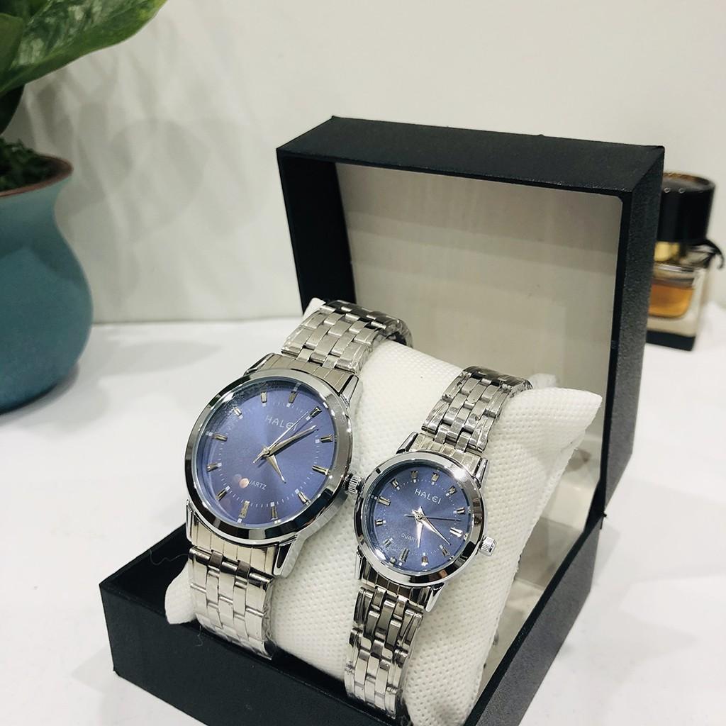 Đồng hồ đôi cặp nam nữ HALEI giá 1 đôi chống nước dây bạc