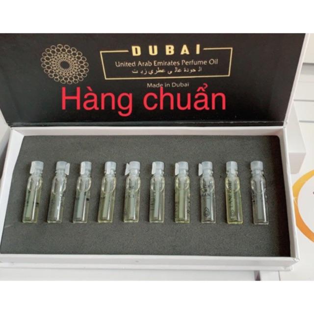 [Mã COS1111 giảm 8% đơn 250K] Set thử 10 tinh dầu nước hoa hàng chuẩn xách tay Dubai,tặng kèm khẩu trang Polo