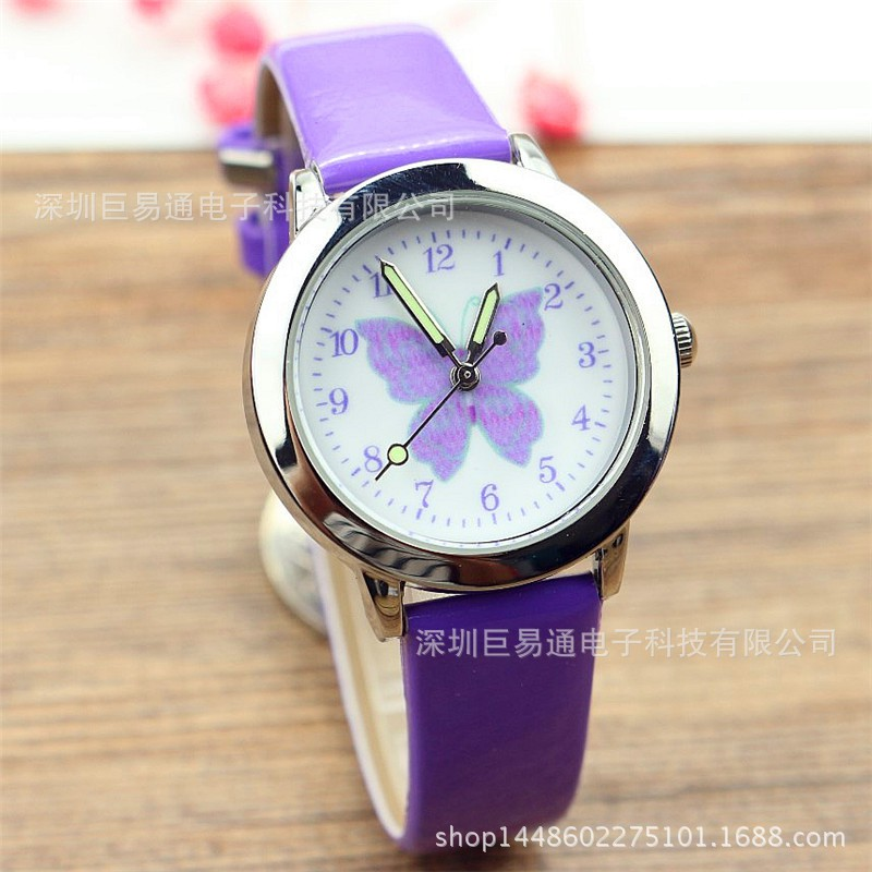 Boy girl cute butterfly cartoon quartz watch fashion pupil belt watch
